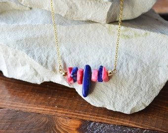 Lapis lazuli & Hot Pink Coral Stones Combination Healing Pendants 18K Gold filled Necklace/One of a Kind/Raw precious stones/Healing Quartz