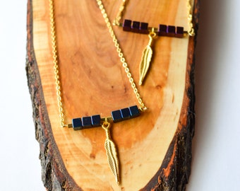 Blue Hematite stone cube on 18K Gold filled Necklace/Hematite Necklace/Cube Necklace/Stone Bar Necklace/Modern Gemstone Elegant Necklace