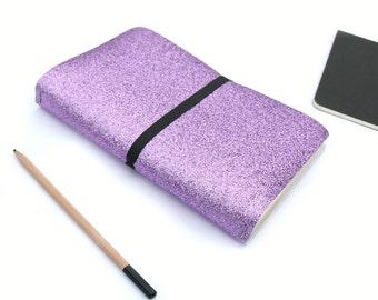 Fauxdori Travelers Notebook Cover, Midori Traveler Notebook style, Reversible Metallic Silver / Sketchbook / Bullet Journal. Various sizes.