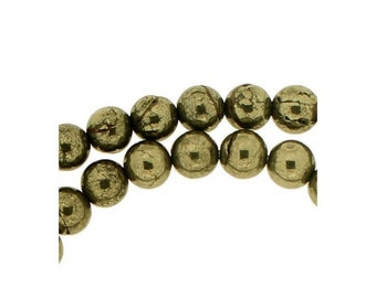 48 beads wire round 8mm 8 mm Golden pyrite