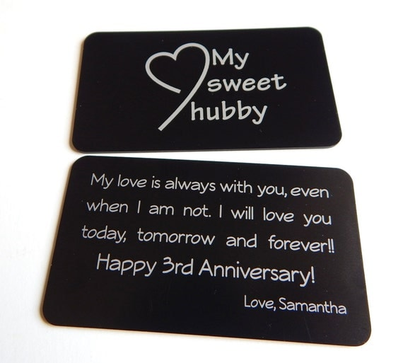 Wedding Gift Message For Wife : 3rd Wedding Anniversary Gift to My Husband Gift from Wife to