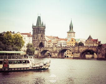 Charles Bridge, Prague - travel photography print, boat cruise on river with view of city