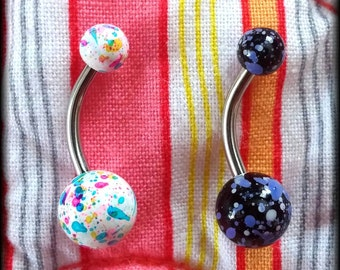 14g Paint Splatter Belly Bar! - Belly Button Ring - Navel Ring - Body Jewelry