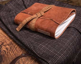 Tan Leather Journal with Brown Wool Plaid | Handmade in the U.S.A.