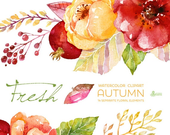 Fresh Autumn Elements Clipart Bouquet Handpainted