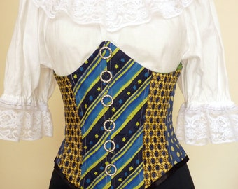 Steampunk,upcycled yellow Bodice,Under Bust Cincher,Corset,Pirate, Pirate Wench,Re Cycled, Up Cycled,Vintage,Waspie,