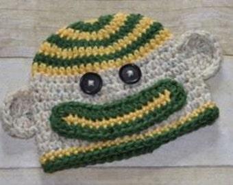 Crochet Green Bay Packers sock monkey hat