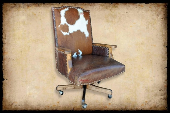 Creek Western Office Chair with Cowhide by RanchoCollection