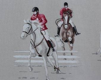 108-inch wide Galloping Horses Drapery and Upholstery Fabric by Thevenon - Paris, France