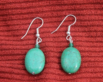 Blue Meadow Oval Turquoise Beaded Earrings