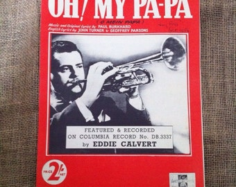 SALE WAS 3 OH! My Pa-Pa (o mein papa) 1953 Vintage Sheet Music for Voice and Piano.