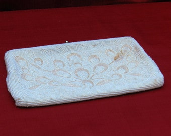 Vintage white beaded Purse by Richere Made in Japan        00512