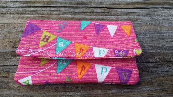 Birthday Gift Card Holder/ Birthday Gift Money Holder/ Gift card Wallet / Gift Card Holder / Fabric Envelope/ Earbuds Holder