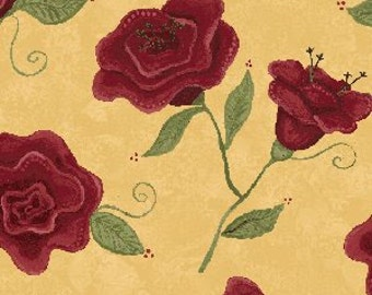 Rebel Roses by Heather Mulder Peterson and  Deb Mulder for Henry Glass & Co.  Tonal Burgundy Roses on Gold 100% Cotton