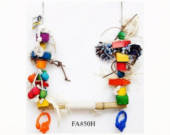 """Fine Large Swing Bird Parrot Toy Entertainment Size 14"""" x 17"""" 30 Elements of safe fun"""