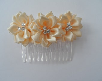 Apricot Flower And Crystal Handmade Hair Comb