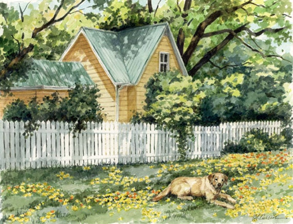"Lazy Days by Carol Ann Curran - Fine Art Print - Double Matted to 11"" x 14"" (Image Size 8"" x 10"") - Yellow Labrador Retriever - Yellow Lab"