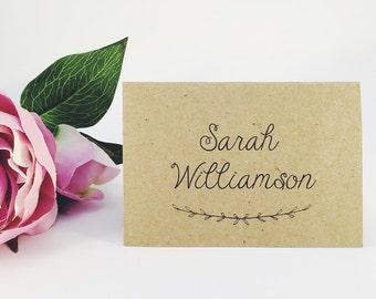 Rustic Laurel Wreath Wedding Place Cards