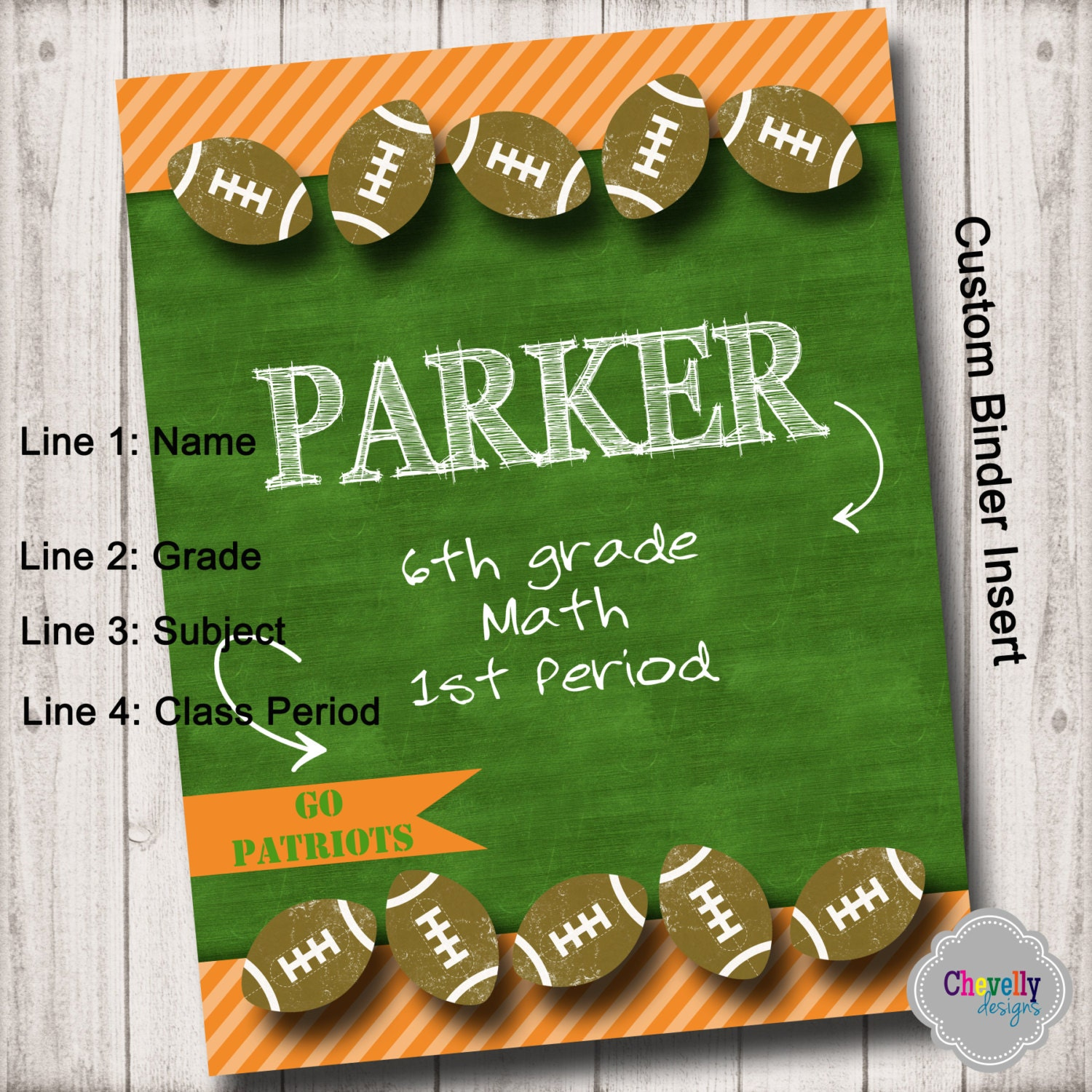 BI002 Custom Binder Cover Insert Football Printable