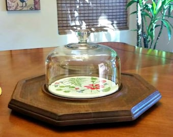Goodwood Cheeseboard Tray /  Server Octagon Shape with Cover Dome -Retro
