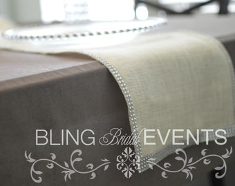 White Rusitc Glam  Runners (Silver Bling Trim)