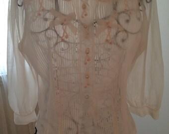 Vintage Blush Pink Blouse, size XS