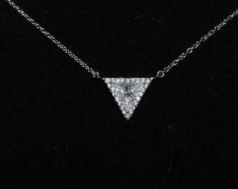Sterling Silver Triangle Shape Pendant Necklace w/Cubic Zirconia