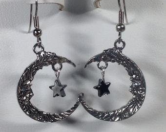 Pewter Moon with Hematite Stars Earrings -PE025