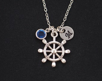 initial necklace, nautical steering wheel necklace, birthstone necklace, silver helm charm on silver plated chain, friendship necklace