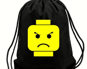 Angry Lego heads gym bag,pe bag,school bag,water resistant drawstring bag.