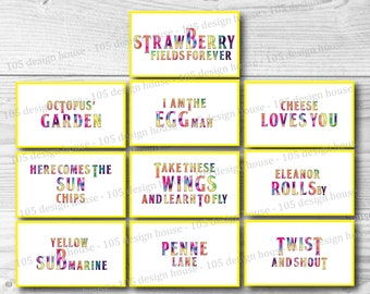 INSTANT DOWNLOAD The Beatles Labels Printable - Food Labels - The Beatles Food Cards - The Beatles Party - Printable Beatles