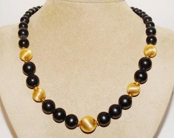 Vintage Napier Stamped black/ Gold Beads Necklace.