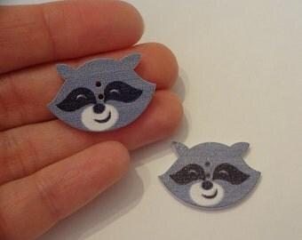2 pcs raccoon heads wooden buttons 20x29x2.5mm scrapbook children crafts two holes
