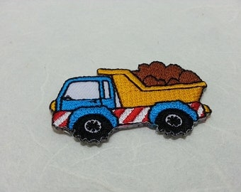 Dump Truck Iron on patch (S) 5.3 x 3 cm - Dump Truck Applique Embroidered Iron on Patch # 1