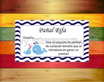 UNIQUE - SPANISH - Diaper Raffle Tickets, Baby Shower Game, Navy and White, Whales, Baby Whales, Espanol, Printable, Instant Download-TFD384