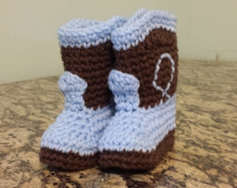Blue and brown cowboy boot style baby booties