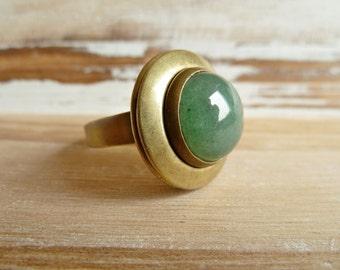 Aventurin medaillon ring