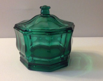 Vintage Emerald Green Glass Candy Dish-c. 1950s