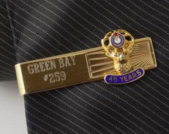 "BPOE Elks Lodge Vintage Tie Clip Clasp Bar GREEN BAY #259 4cm 1.5"" Gold Tone"