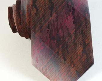 """Vintage Striped Neck Tie European NOS Mens Necktie Skinny Short 54"""" Orange Pink"""