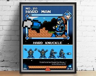 Mega Man poster, Nintendo art, video game poster, classic game print, pixel art, Hard Man, kids room poster, game room art