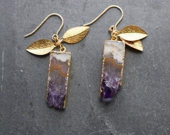 gift for her,Amethyst earrings,purple gemstone earrings,amethyst jewelry,purple dangle earrings,amethyst drop earrings,February birthstone