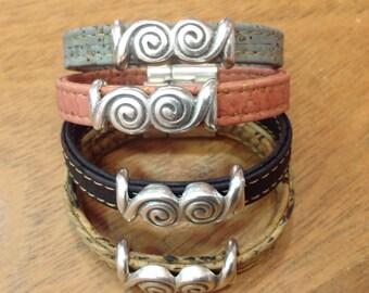 Cork bracelet, natural, blue, pink or black with magnetic clasp