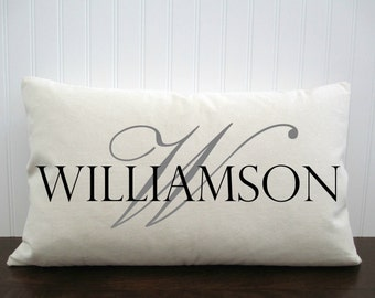 Burlap Pillow Cover with Last Name. Anniversary Gift. Birthday Gift.  Burlap Pillow. Zipper enclosure. Rustic home decor. Rustic Chic.