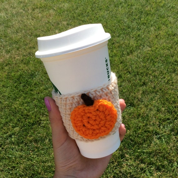 Crochet cozy with pumpkin, pumpkin coffee cozy/sleeve, cup cozy, fall ...