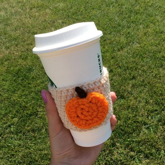 Crochet cozy with pumpkin pumpkin coffee cozy/sleeve cup