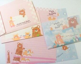 Kawaii Stationery - Wash Wash Bear - Japanese Letter Set