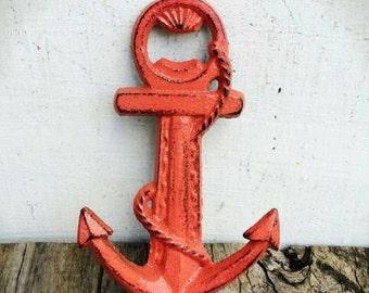 BOLD nautical anchor bottle opener // salmon coral ping // shabby chic beach rustic kitchen & bar // sailor decor