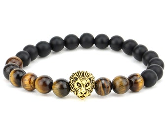 Genuine Tiger Eye & Agate Onyx Lucky Stone Golden  Lion Spiritual Energy 10mm Beads Bracelet Fits all Men Women stretchable