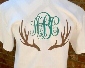 Preppy Deer Antlers Monogrammed